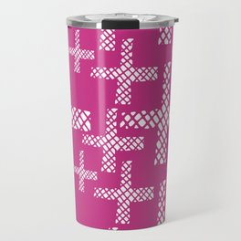 Neon pink white geometrical hand painted argyle crosses Travel Mug