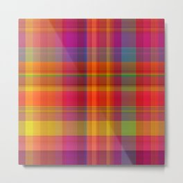 Plaid, hot colors Metal Print