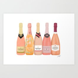 Rose Champagne Bottles Art Print
