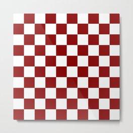 Red White Checker Metal Print