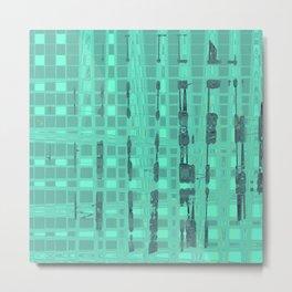 Paint artwork, blue shapes on many teal tiles Metal Print