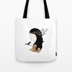 Girl with magpie Tote Bag