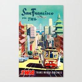 San Francisco Via TWA - Vintage Poster Canvas Print
