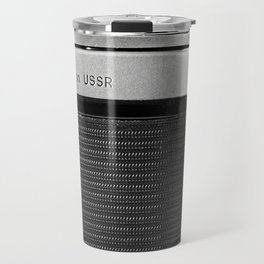 Fragment of old Soviet photo camera Travel Mug