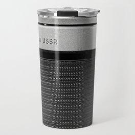 Fragment of old Soviet photo camera Travel Mug