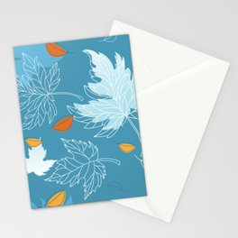Lovely blue sky illustration with autumn leaves pattern  Stationery Cards