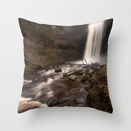 Henrhyd Falls South Wales AKA The Batcave Throw Pillow