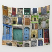doors Wall Tapestries featuring doors by Cathy Jacobs