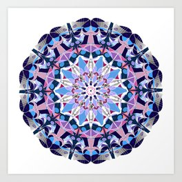 blue grey white pink purple mandala Art Print