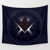 hydra Wall Tapestries featuring Hidden HYDRA - S.H.I.E.L.D. Logo with Wording by Andrew Treherne