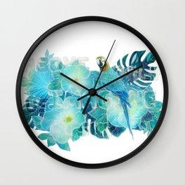 Imagine above us only sky birds flower jungle illustration original painting print Wall Clock