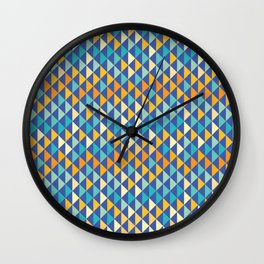 Retro pattern of triangles Wall Clock