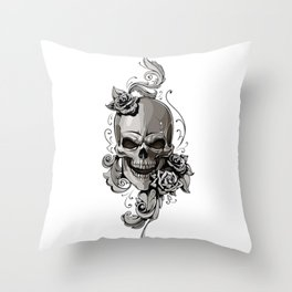 Skull and flowers Throw Pillow
