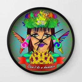 Don't Be a Hummer- Woman and Hummingbird Feminist Portrait V2 Wall Clock