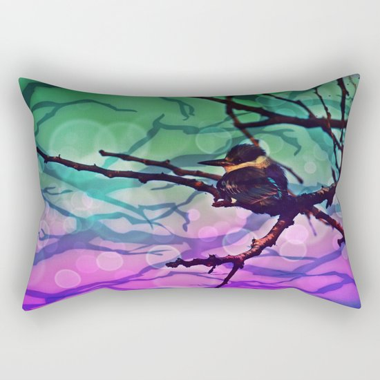 African Bird and Branches Teal And Pink Rectangular Pillow