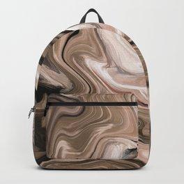 Brown beige watercolor marble Backpack