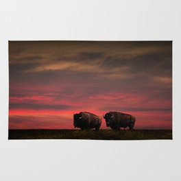 Two American Buffalo Bison at Sunset Rug