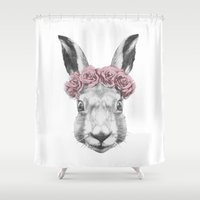 hare Shower Curtains featuring Hare  by Victoria Novak