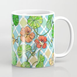 Climbing Nasturtiums on Blue and White Coffee Mug