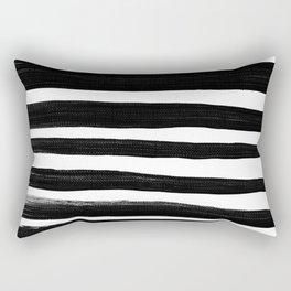 Thick Black Brush lines on White Rectangular Pillow