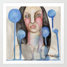 Woman with falling bubbles Art Print