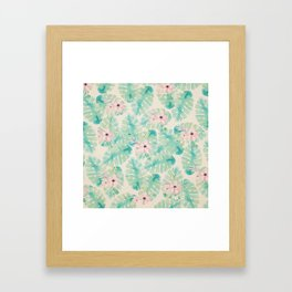 Blush pink green watercolor tropical ivory floral Framed Art Print