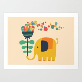 Elephant with giant flower Art Print
