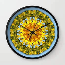 Nature Flower Mandala, sunflower 001.1 / Floral mandala-style Wall Clock