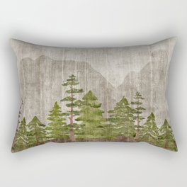 Mountain Range Woodland Forest Rectangular Pillow