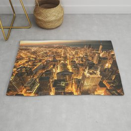 chicago aerial view Rug