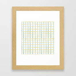 Pastel yellow teal watercolor geometrical checker stripes Framed Art Print