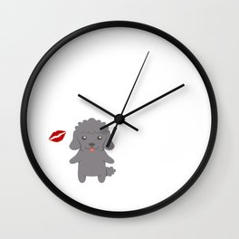 I Kissed A Poodle And I Liked It Cute Dog Kiss Gift Idea Wall Clock