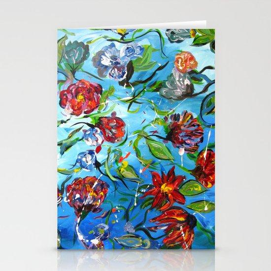 Blue Flower Swirl Stationery Cards