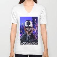 venom V-neck T-shirts featuring VENOM by corverez
