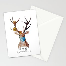 The Social Distancing Deer  Stationery Cards