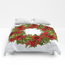Red And Green Wreath On A White Background - Arrangement Of Flowers And Berries #decor #society6 Comforters