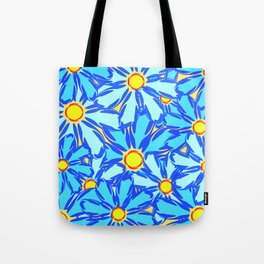 Abstract daisies. Background of blue and white flowers. Tote Bag