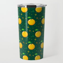 Pixel Oranges - Green Travel Mug