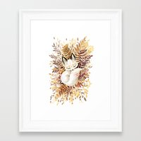 brown Framed Art Prints featuring Slumber by Freeminds