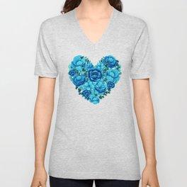 Elegant Floral Heart in Blue Hues Unisex V-Neck