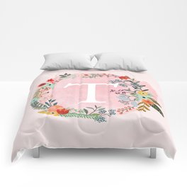 Flower Wreath with Personalized Monogram Initial Letter T on Pink Watercolor Paper Texture Artwork Comforters