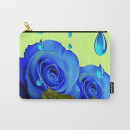 DECORATIVE BLUE SURREAL DRIPPING ROSES & GREEN FROGS Carry-All Pouch