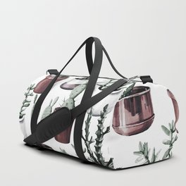 Happy Cacti in Rose Gold Pots Pattern Duffle Bag