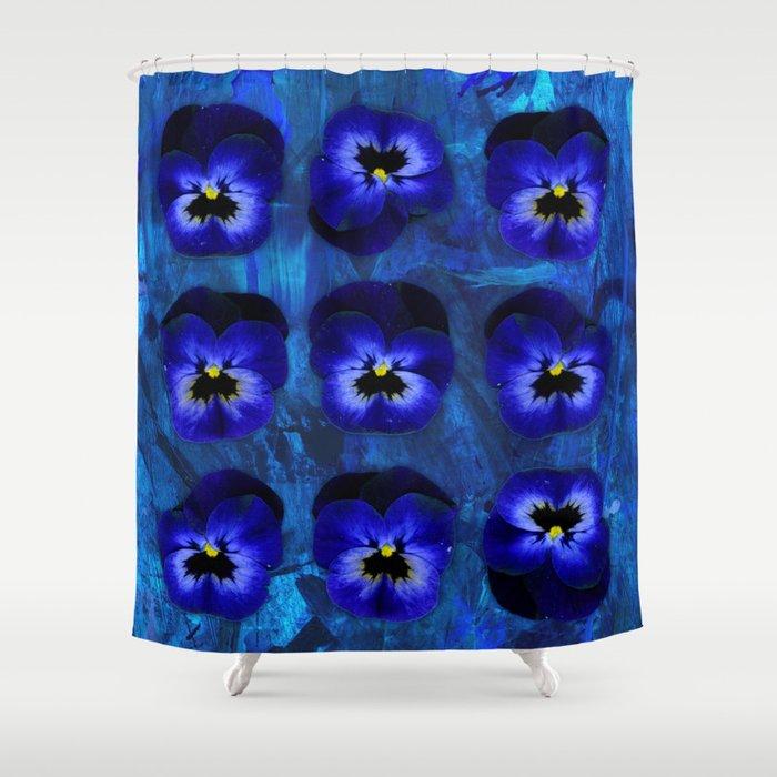 Deep Blue Velvet Shower Curtain by evalundbergline | Society6