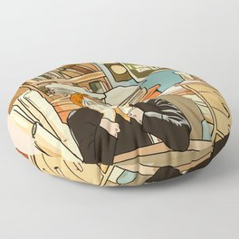 Dana Scully sit to the Fox Mulder's office Floor Pillow