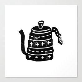 Kettle linocut black and white minimal modern printmaking art print tea kettle Canvas Print