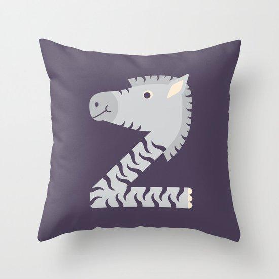 Letter Z // Animal Alphabet // Zebra Monogram Throw Pillow