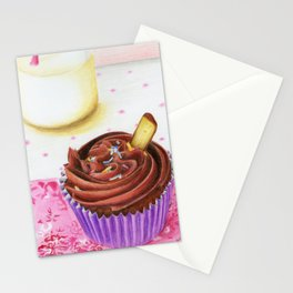 Cupcake with milk Stationery Cards