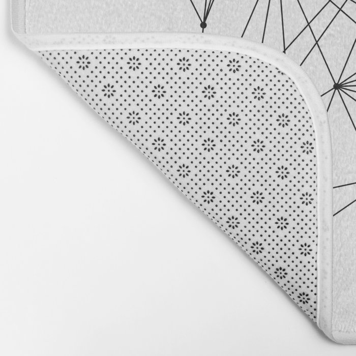 White Geometric Dots and Lines Bath Mat
