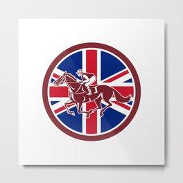 British Jockey Horse Racing Union Jack Flag Metal Print